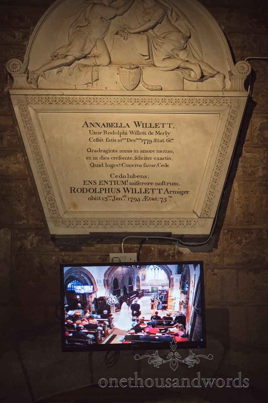 Church detail and TV screen at Norman church Wedding