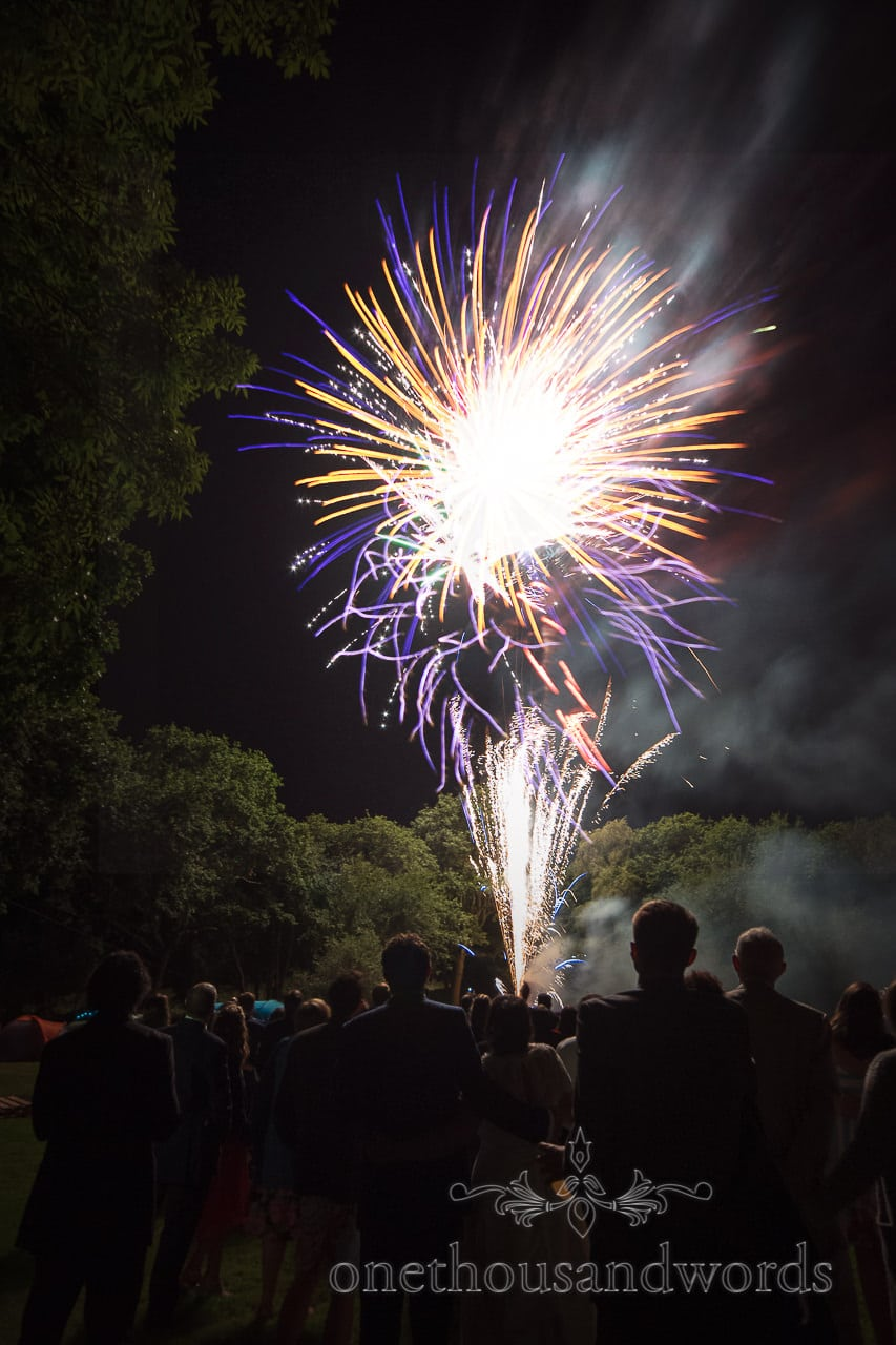 Colourful fireworks display from Dorset garden wedding