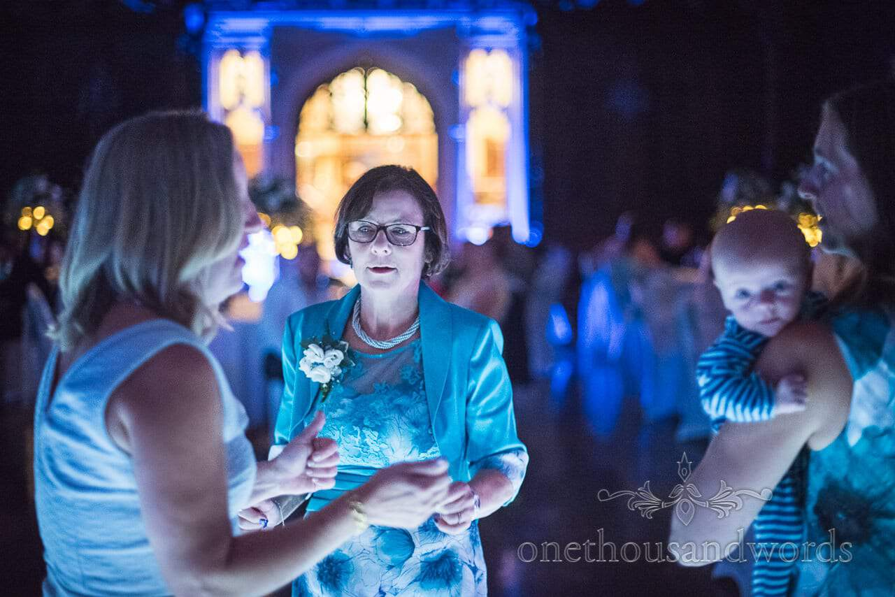Dancing guests at evening reception at Canford School Wedding Photographs