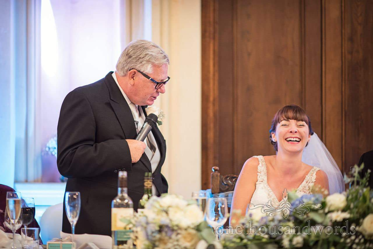 Father of the bride delivers speech at Canford School Wedding