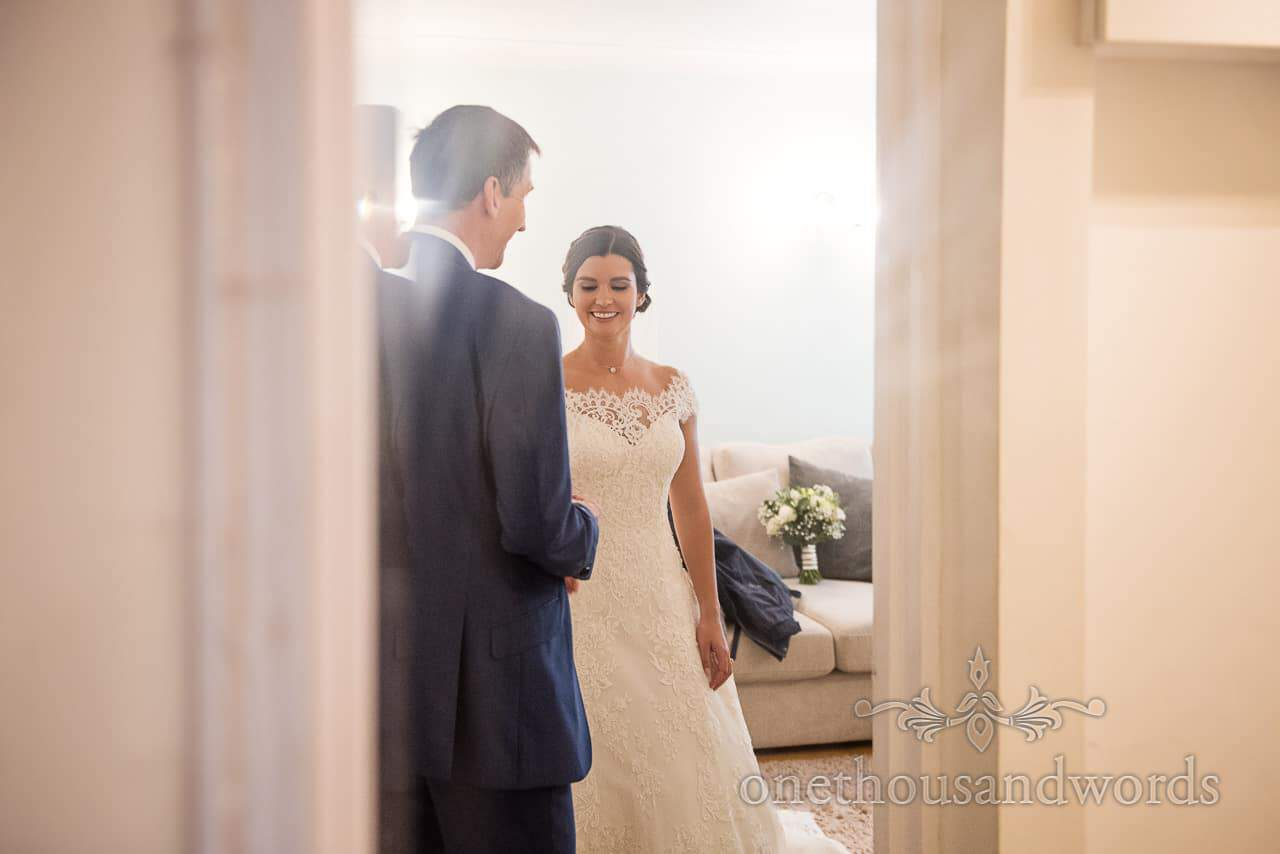 Father of the bride with bride on morning of Italian Villa Wedding