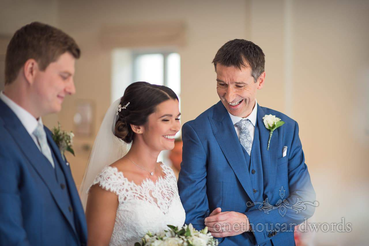 Father of the bride with daughter during civil ceremony at the Italian Villa Wedding