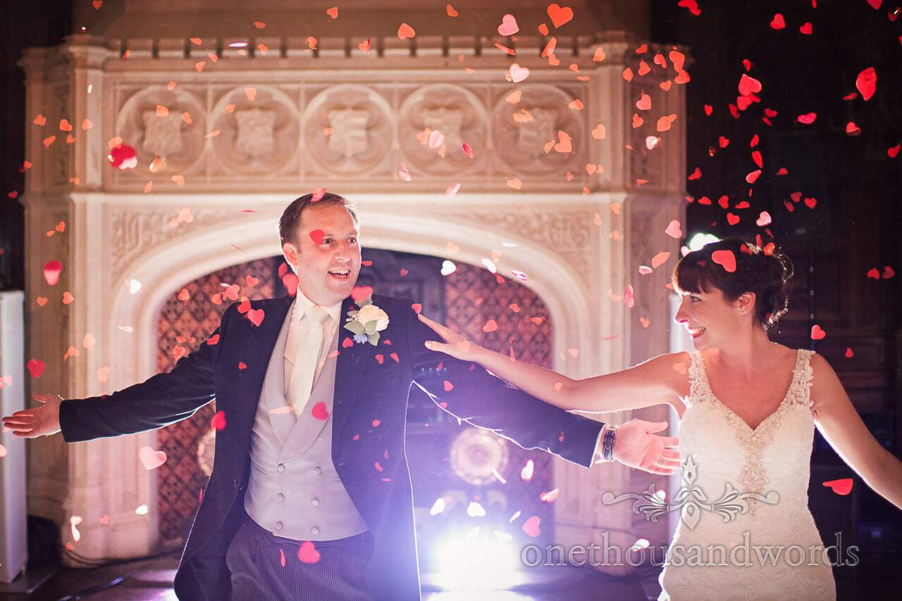 First dance among heart confetti at Canford School Wedding Photographs