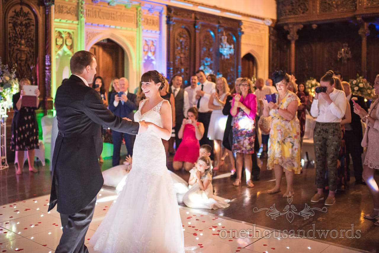 First dance in great hall at Canford School Wedding Photographs