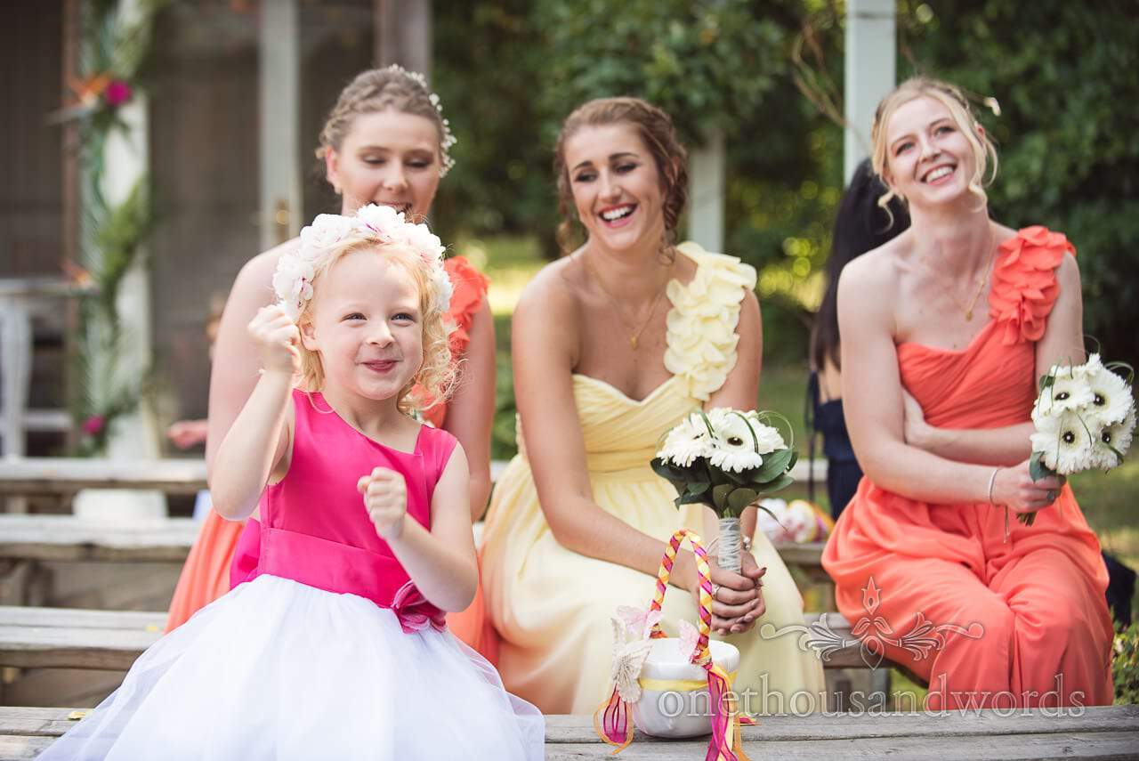 Flower girl and bridesmaids at The Old Vicarage Wedding Photographs