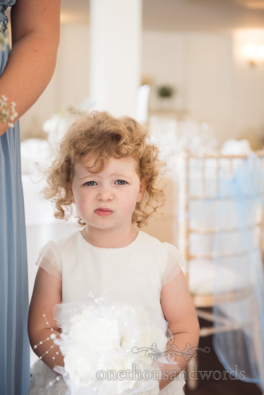 Flower girl before civil ceremony at Italian Villa Wedding venue Photos