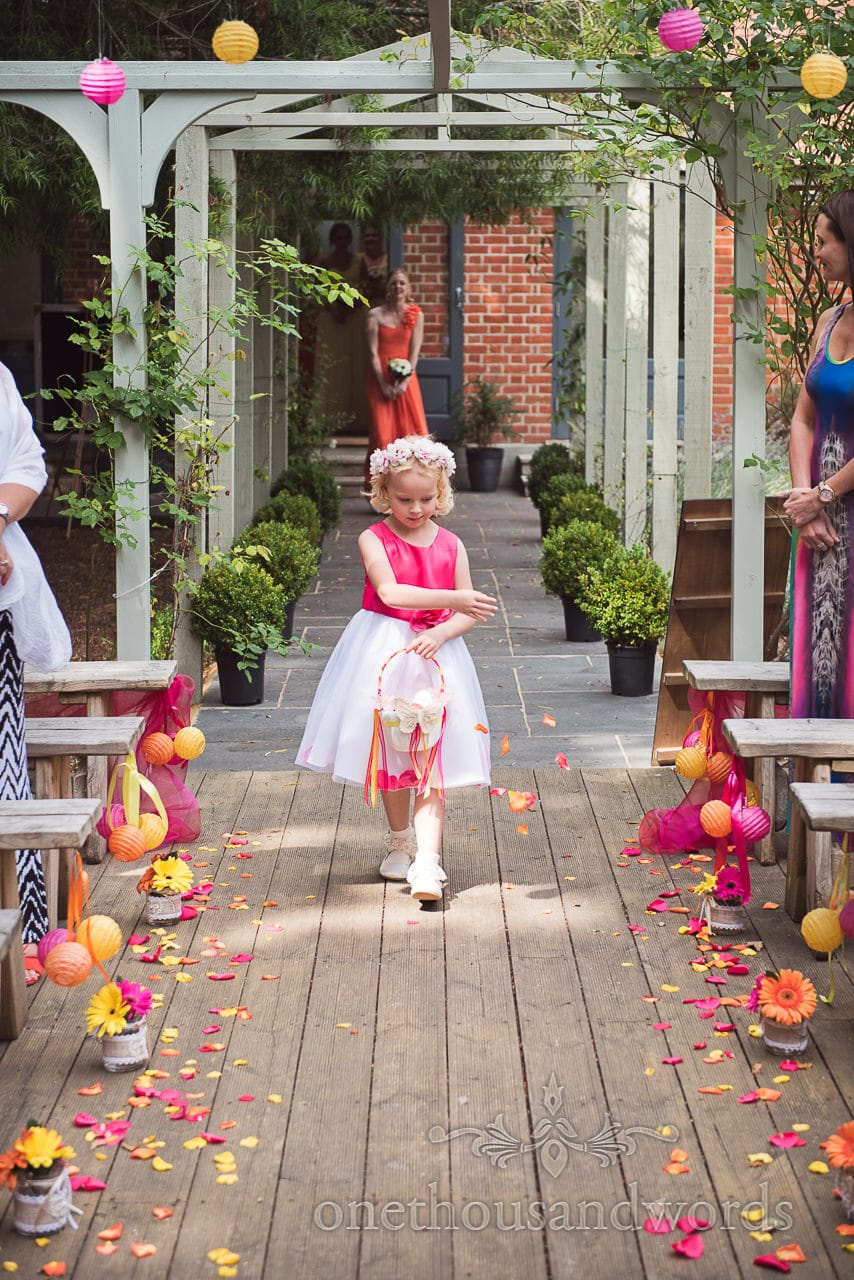 Flower girl leads out bridal party at the Old Vicarage Wedding Photographs