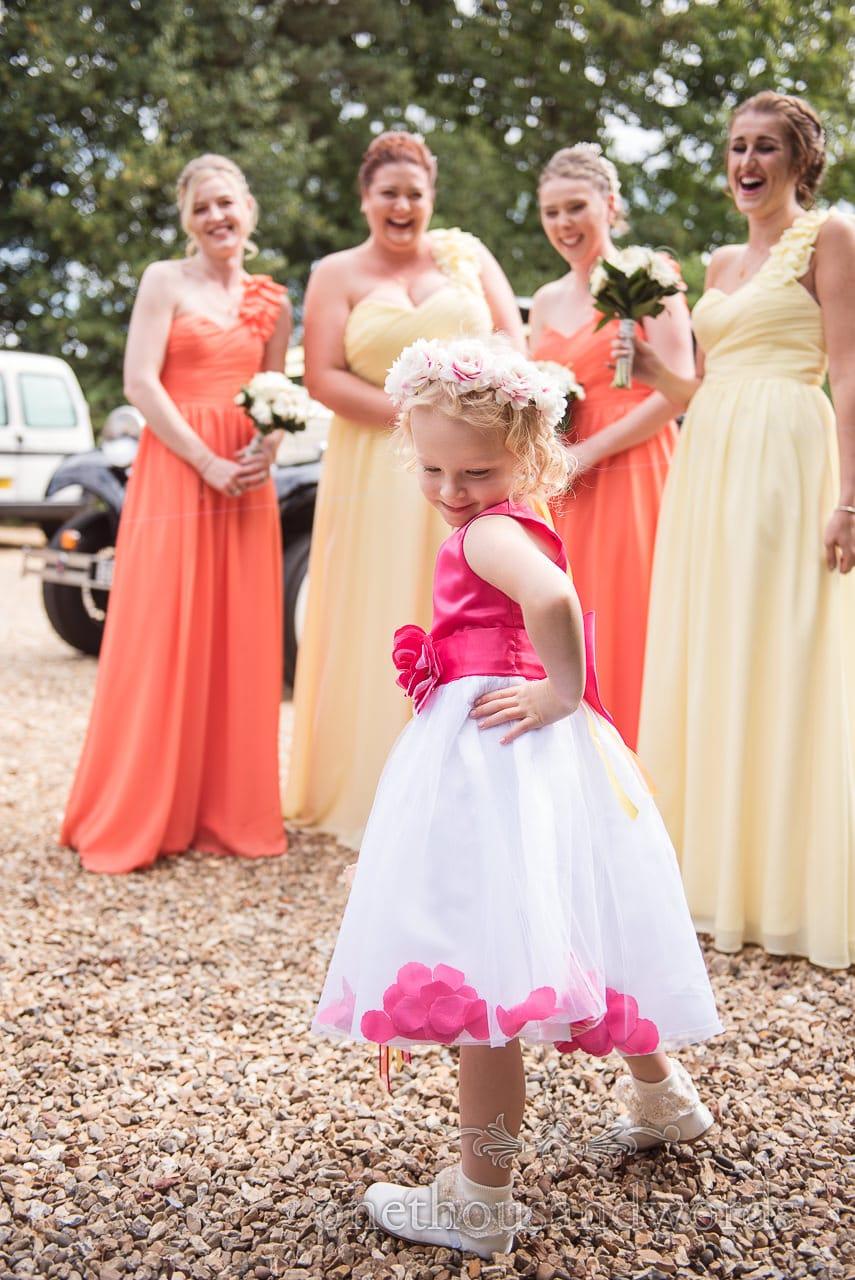 Flower girl strike a pose at Old Vicarage Wedding Photographs