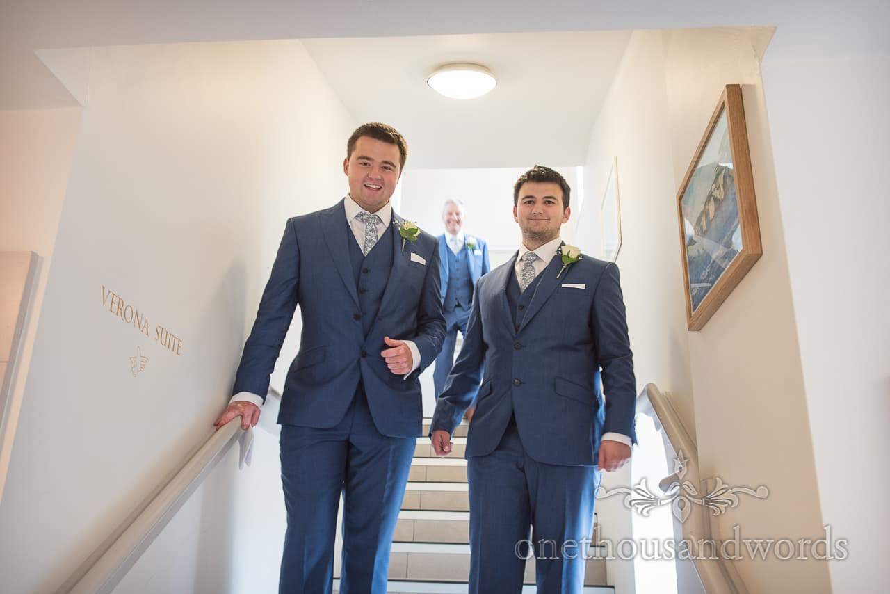 Friendly ushers on stairs at Italian Villa Wedding Photos venue