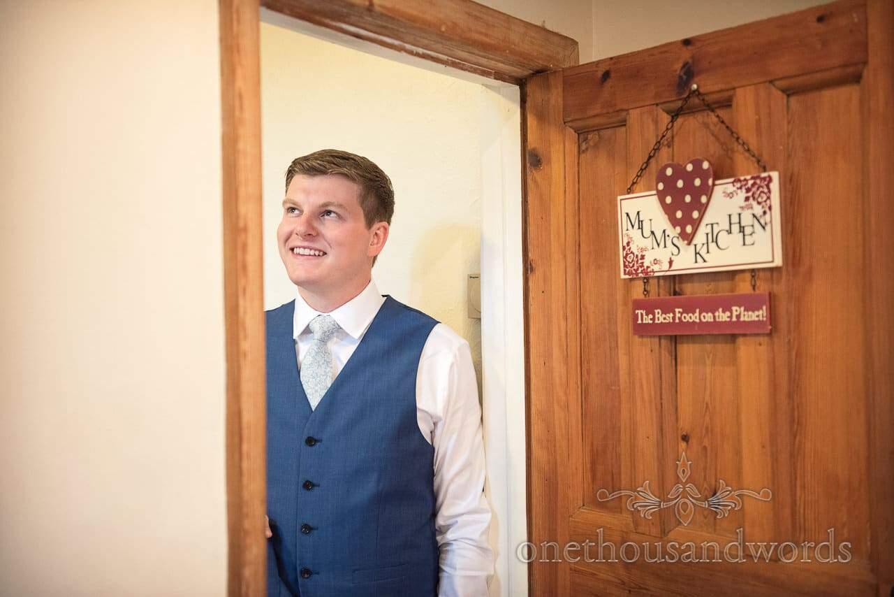 Groom almost ready on morning of Italian Villa Wedding