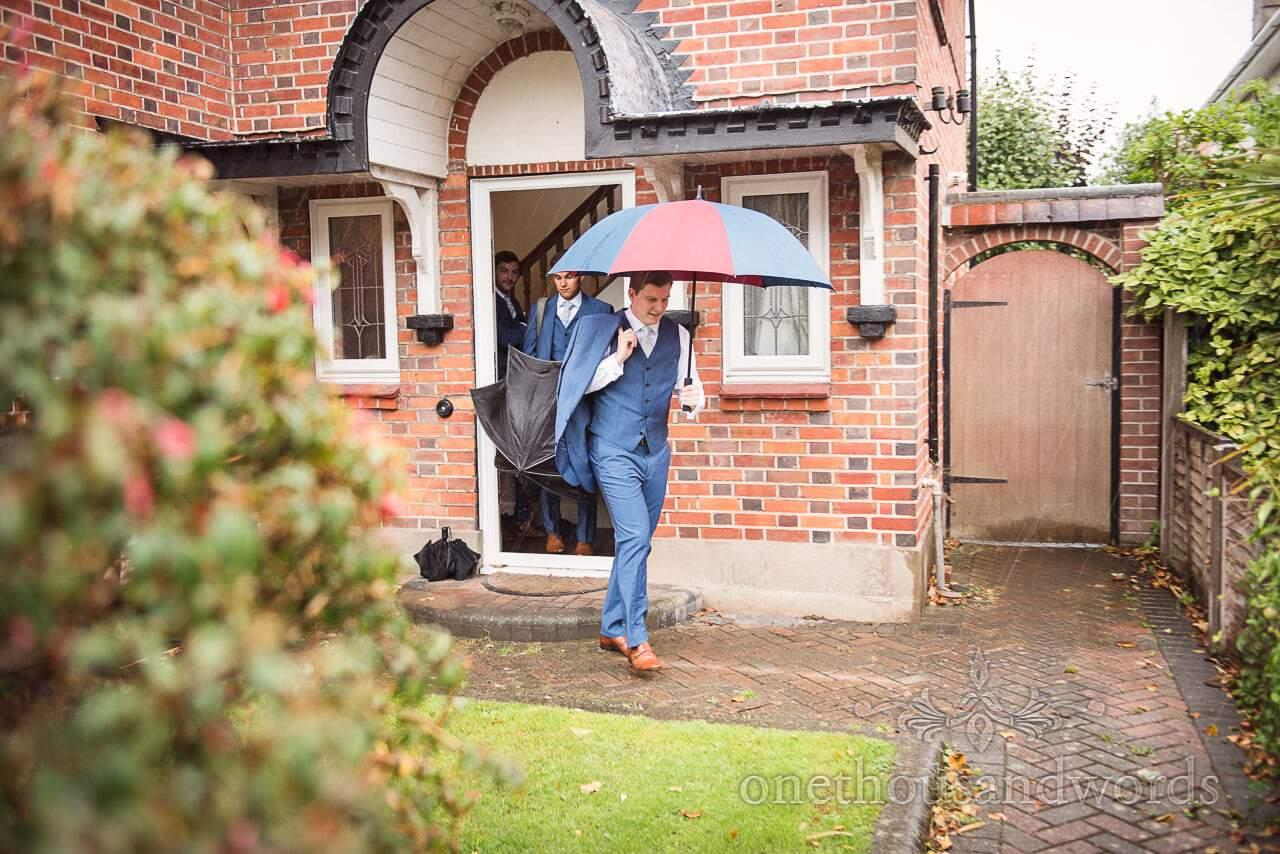 Groom and groomsmen leave for the Italian Villa Wedding venue