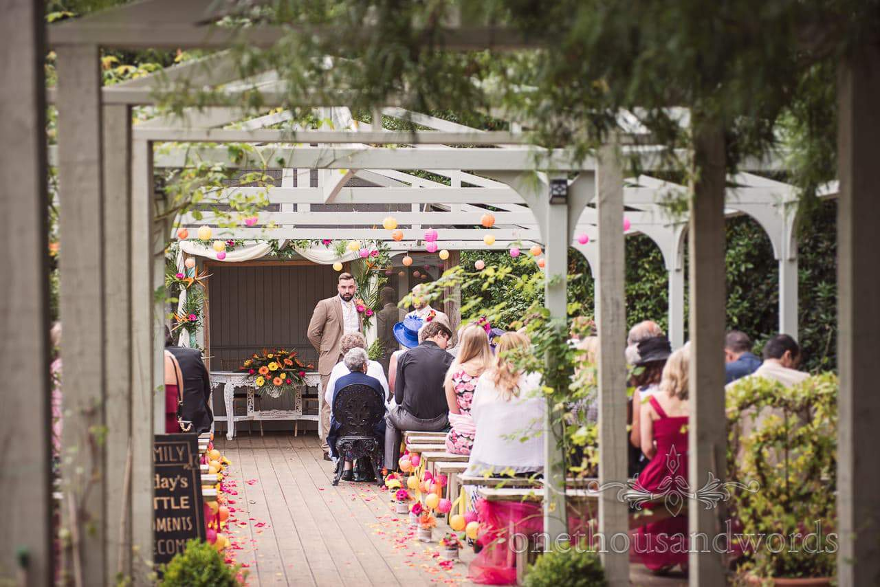 Groom and guests await arrival of bridal party at the Old Vicarage Wedding Photographs