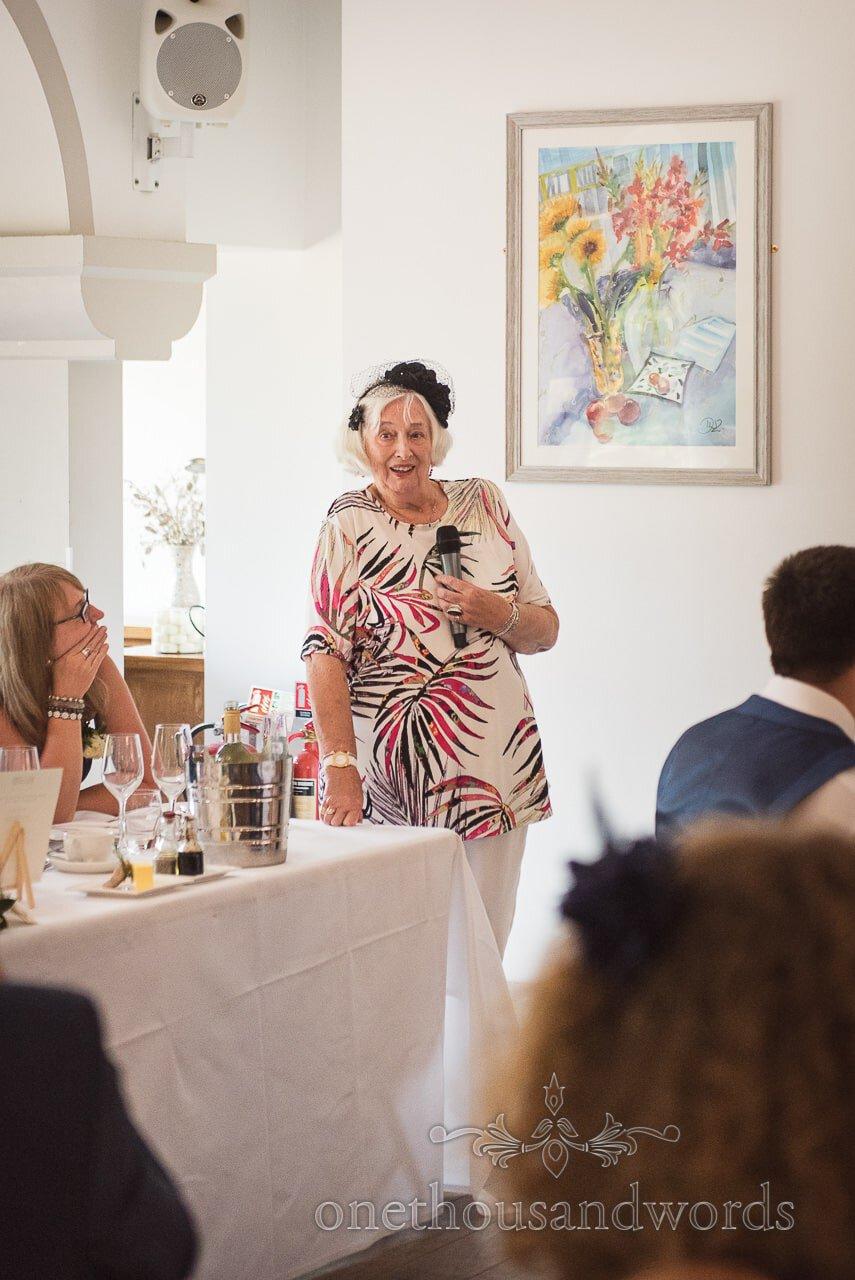 Groom's grandmother makes wedding speech at Italian Villa Wedding venue