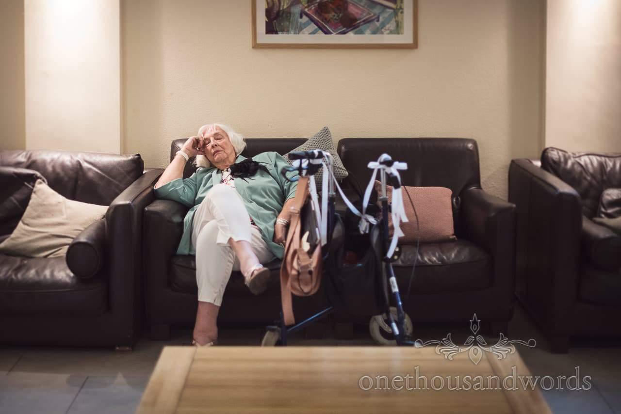 Groom's grandmother takes a break from festivities at The Italian Villa Wedding