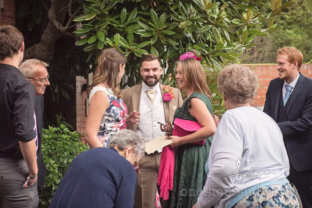 Groom with guests at The Old Vicarage Wedding Photographs