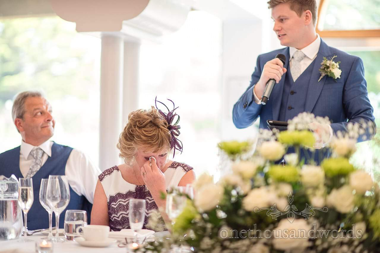 Grooms mother cries as Groom give wedding speech at The Italian Villa