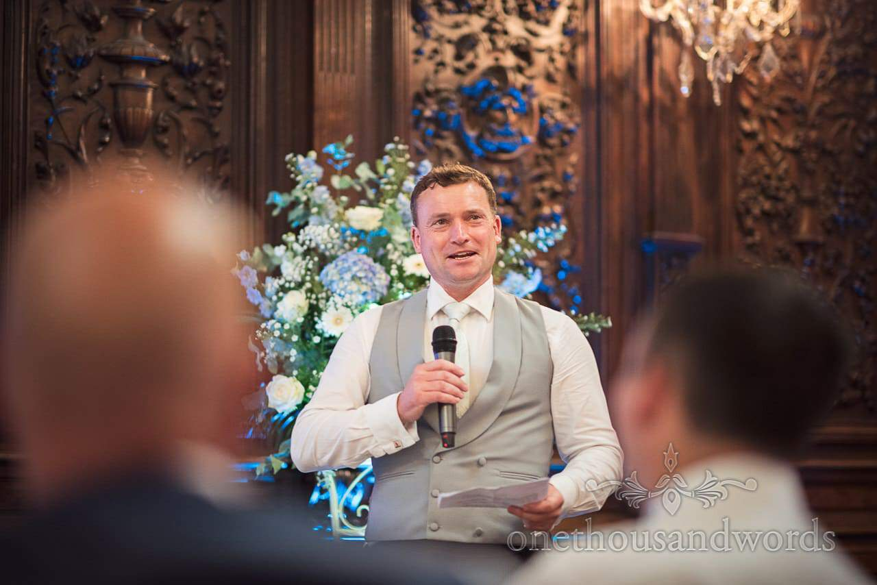 Groomsman delivers a speech at Canford School Wedding Photographs