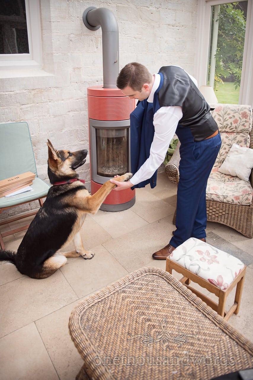 Groomsman get a paw from dog before Dorset garden wedding