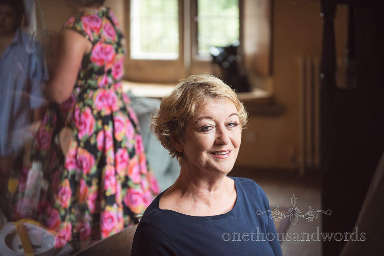 Guest has make up styled at Woodsford castle before Garden Wedding