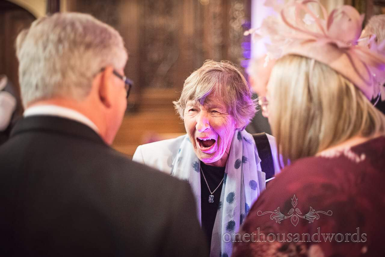 Guest in receiving line at Canford School Wedding