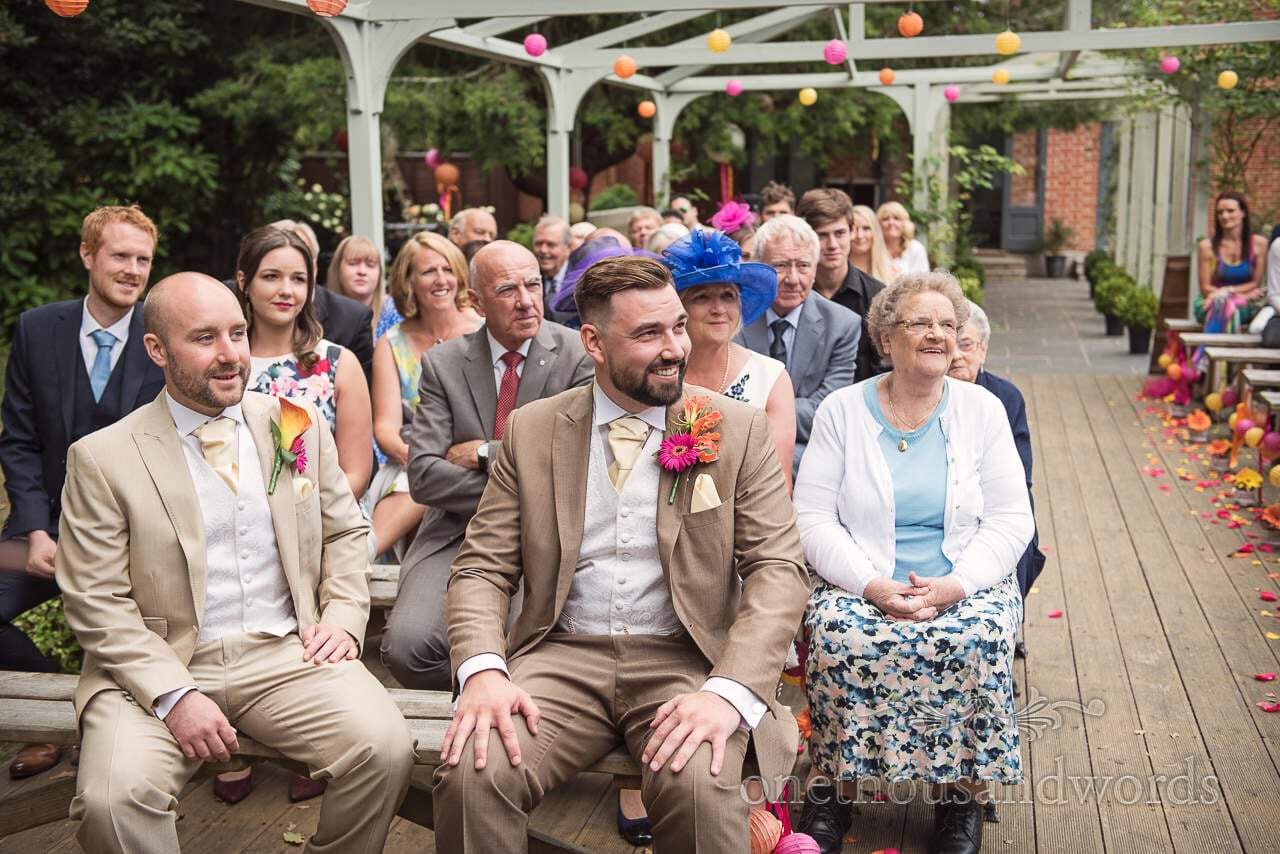 Guests and groom wait for arrival of the bride at the Old Vicarage Wedding Photographs