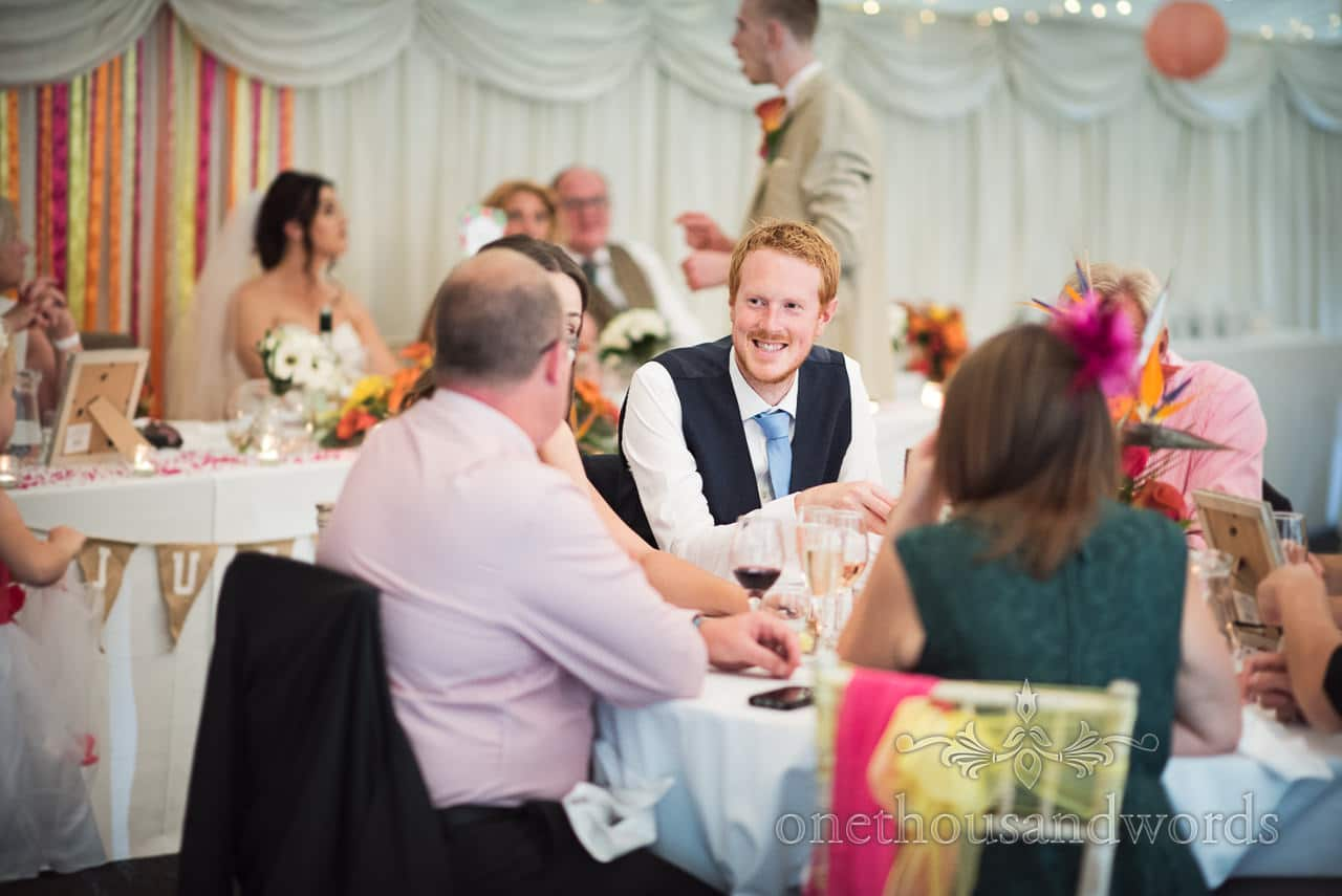 Guests at table during wedding breakfast at the Old Vicarage Wedding