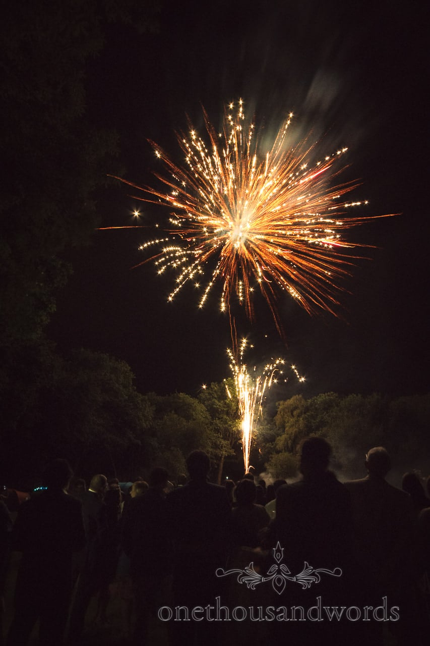 Guests enjoy fireworks display at Dorset garden wedding