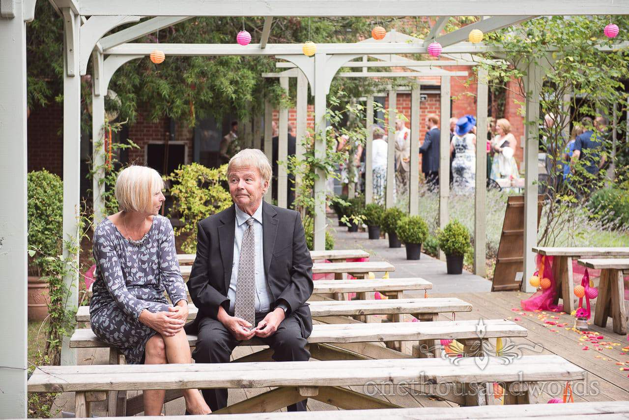 Guests start to take their places at The Old Vicarage Wedding Photographs