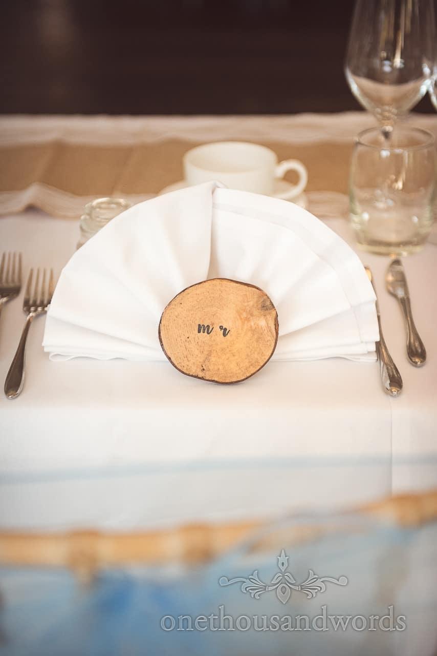Hand made wooden place setting at Italian Villa Wedding