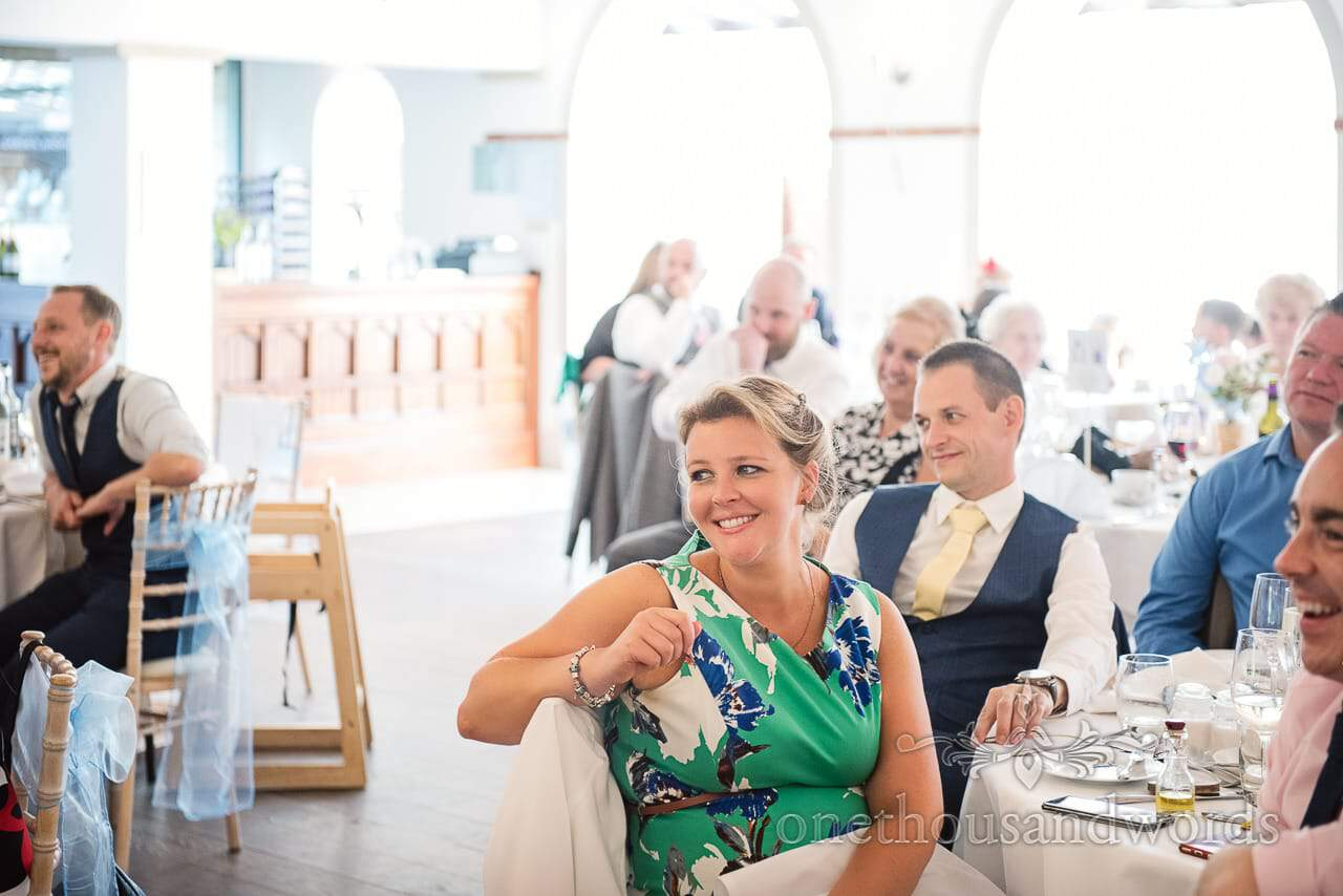 Laughing guests during speeches at Italian Villa Wedding