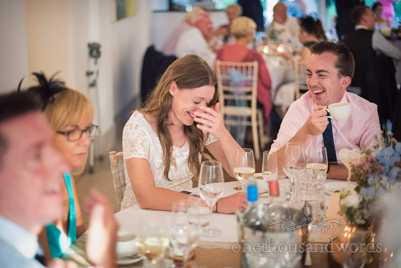 More laughing guests during speeches at Italian Villa Wedding