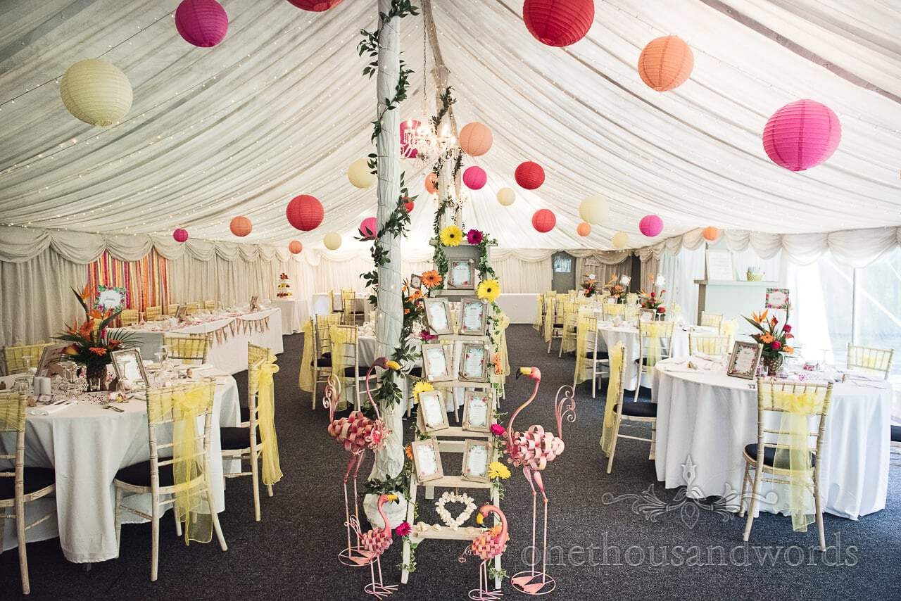 Marquee decorated for wedding breakfast at The Old Vicarage Wedding Photographs