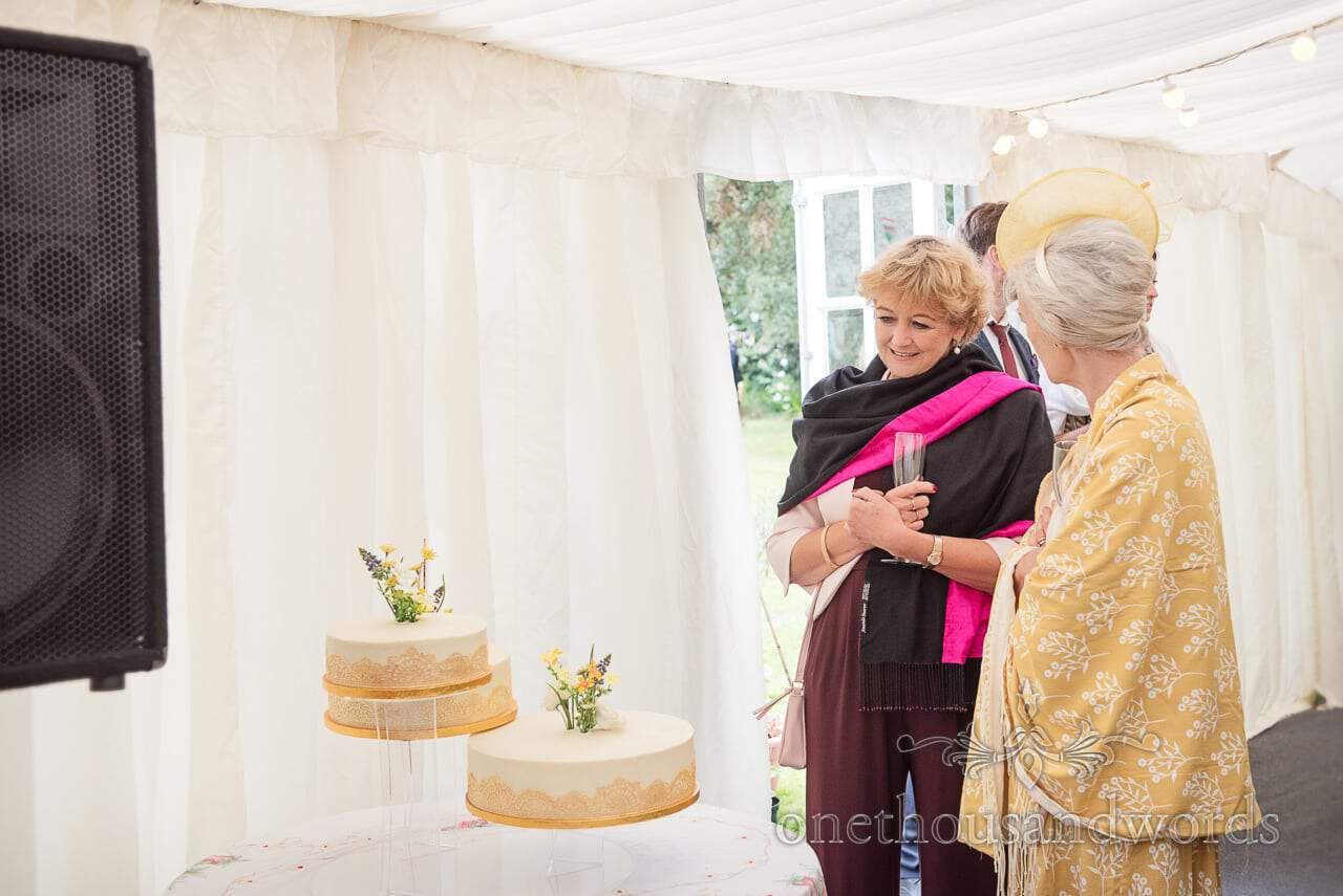 Mother and guest admire wedding cake at garden wedding reception