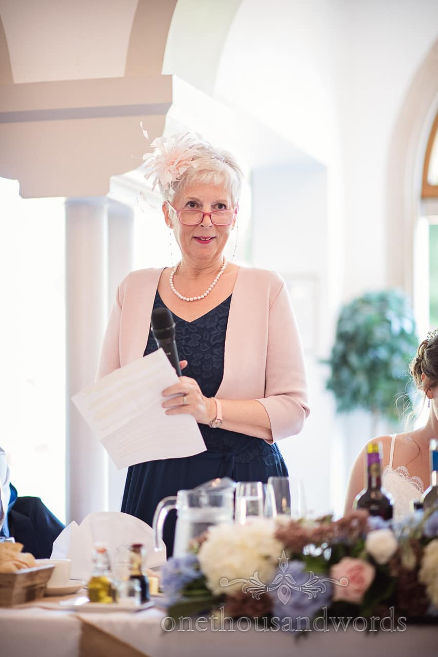 Mother of the bride gives a speech at Italian Villa Wedding