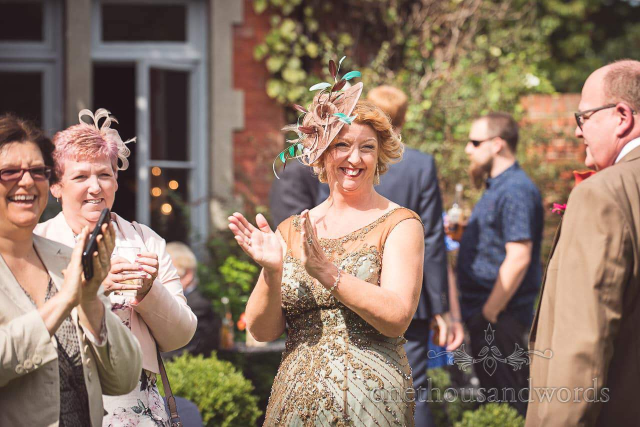 Mother of the bride and guests applaud band at The Old Vicarage Wedding Photographs