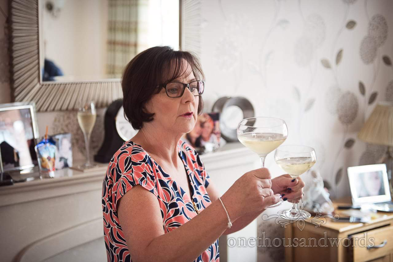Mother of the bride on morning of Canford School Wedding Photographs