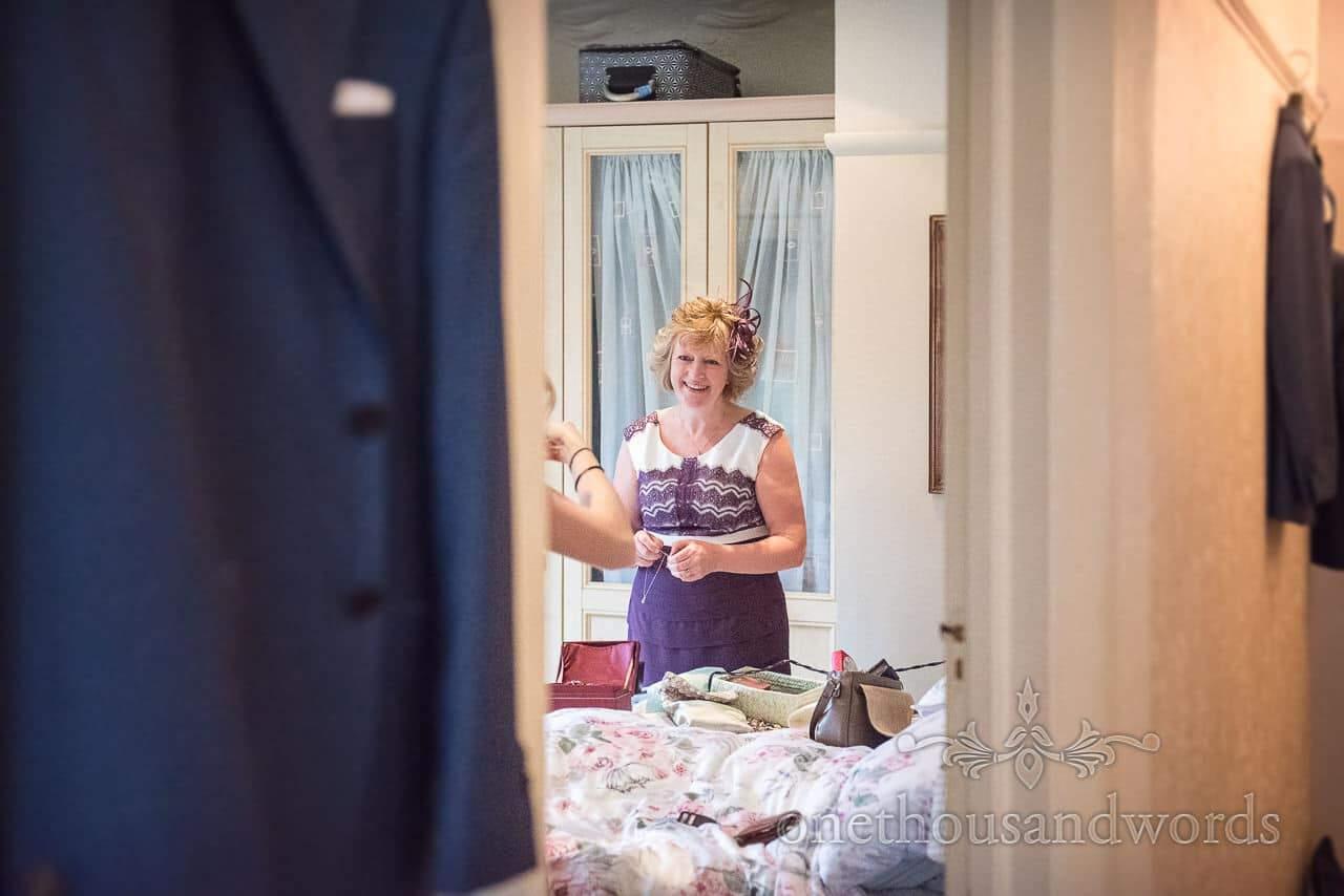Mother of the groom readies herself before Italian Villa Wedding