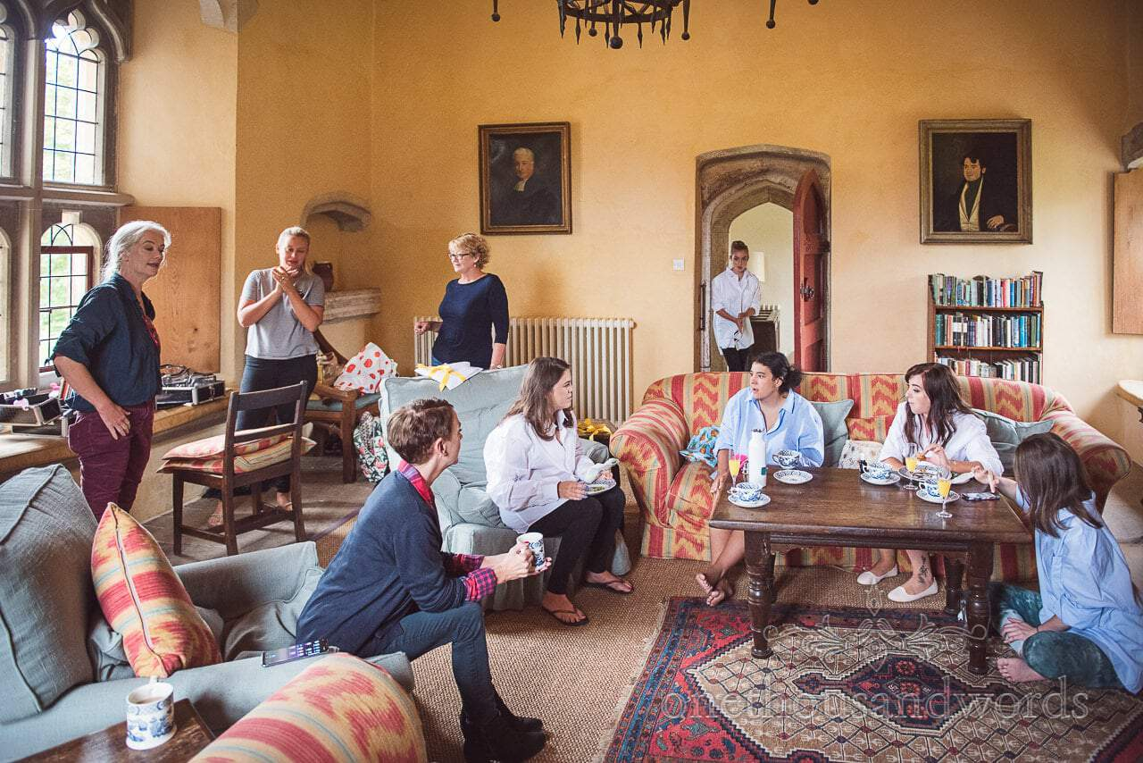 Mothers, bride and bridesmaids on wedding morning at Woodsford castle