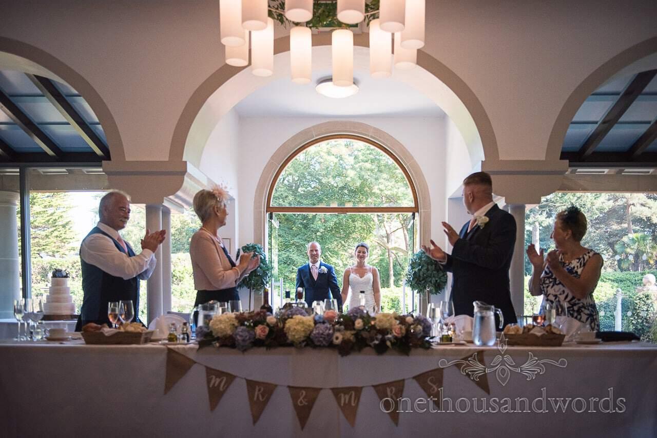 New Mr and Mrs make an entrance at Italian Villa Wedding
