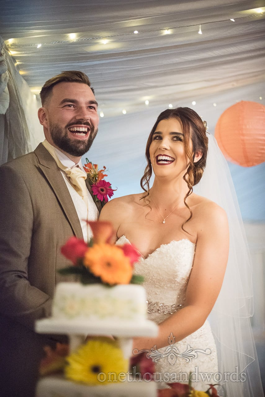 Newlyweds cut the cake at the Old Vicarage Wedding