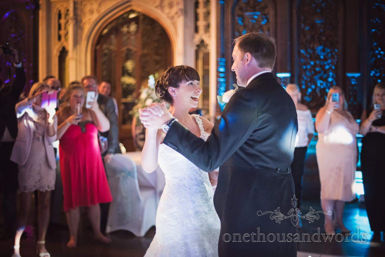 Newlyweds dance in great hall at Canford School Wedding Photographs