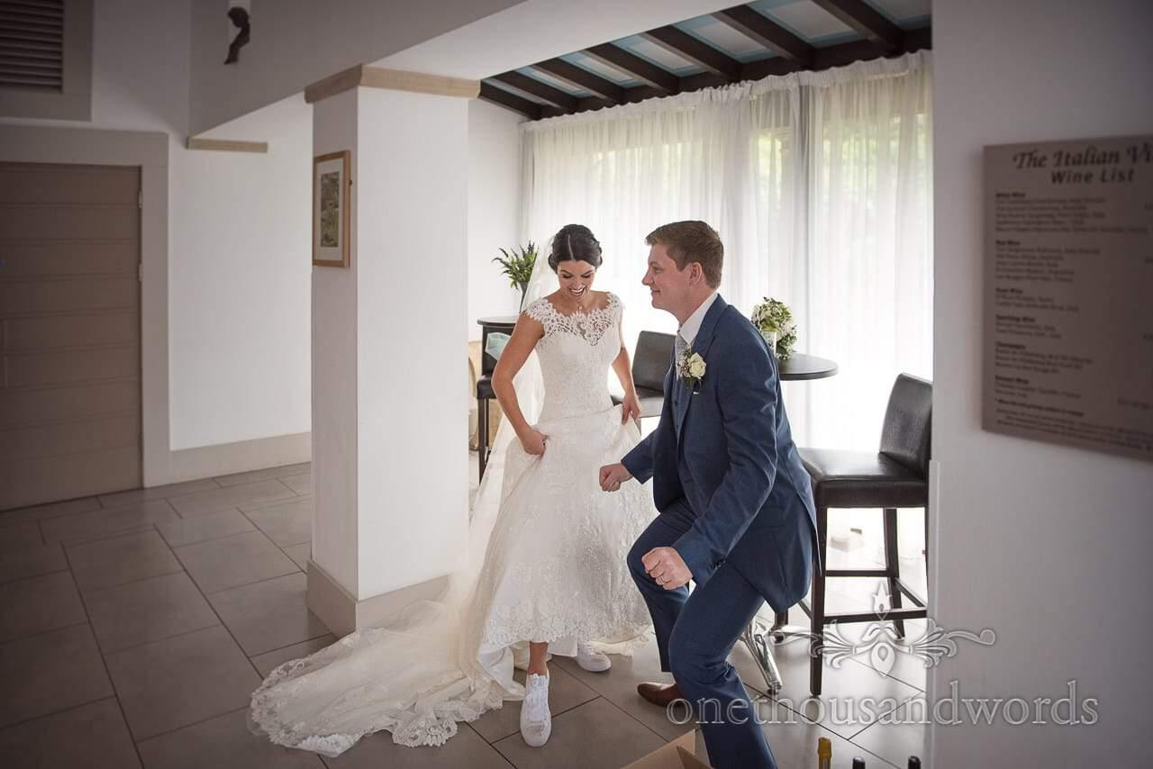 Newlyweds dance the strange dance at the Italian Villa Wedding venue