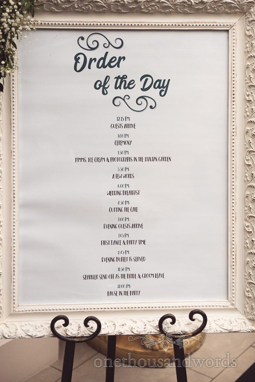 Order of the day framed timeline at Italian Villa Wedding venue