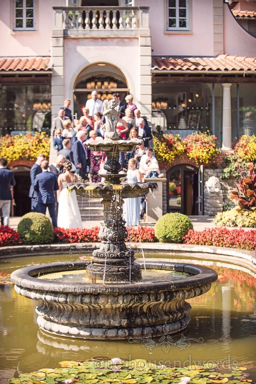 Ornate water fountain in garden at the Italian Villa Wedding venue photos