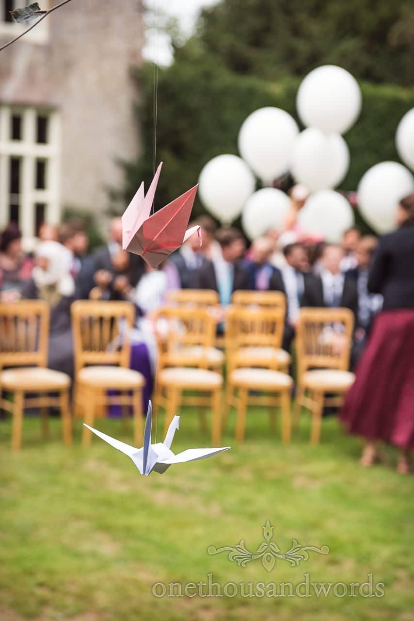 Paper crane decorations for Dorset garden wedding