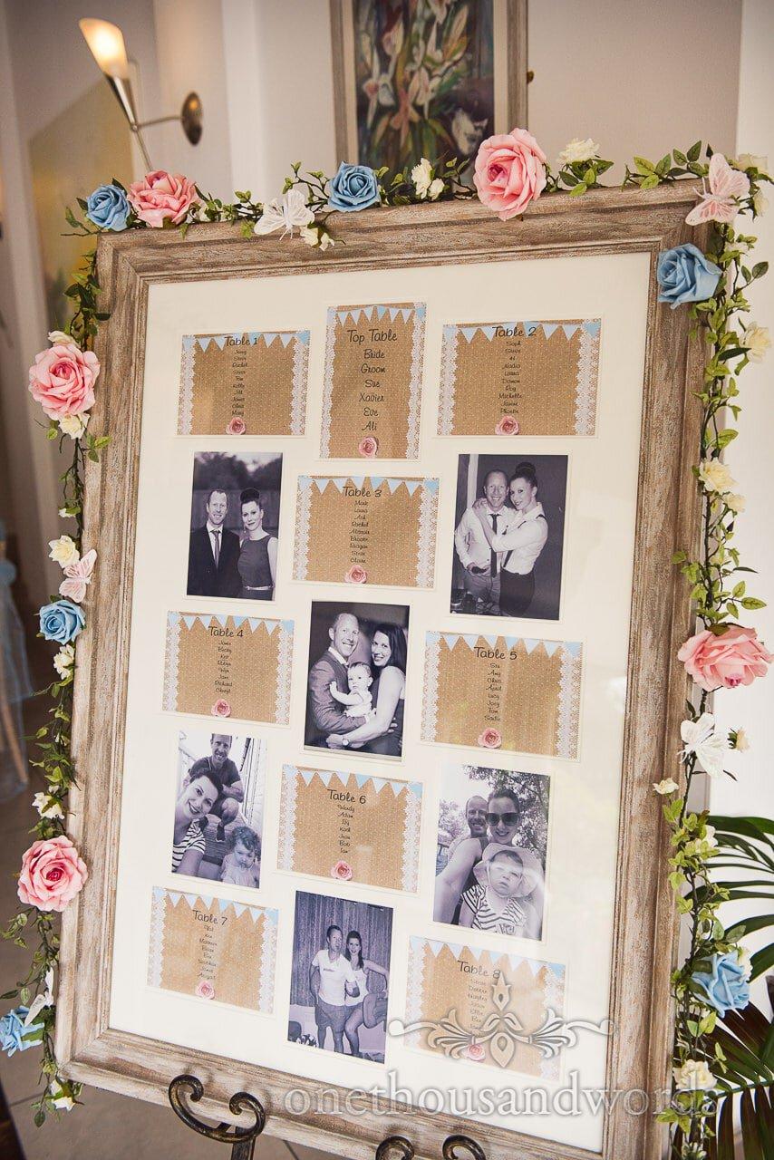 Personalised hand made table plan at the Italian Villa Wedding