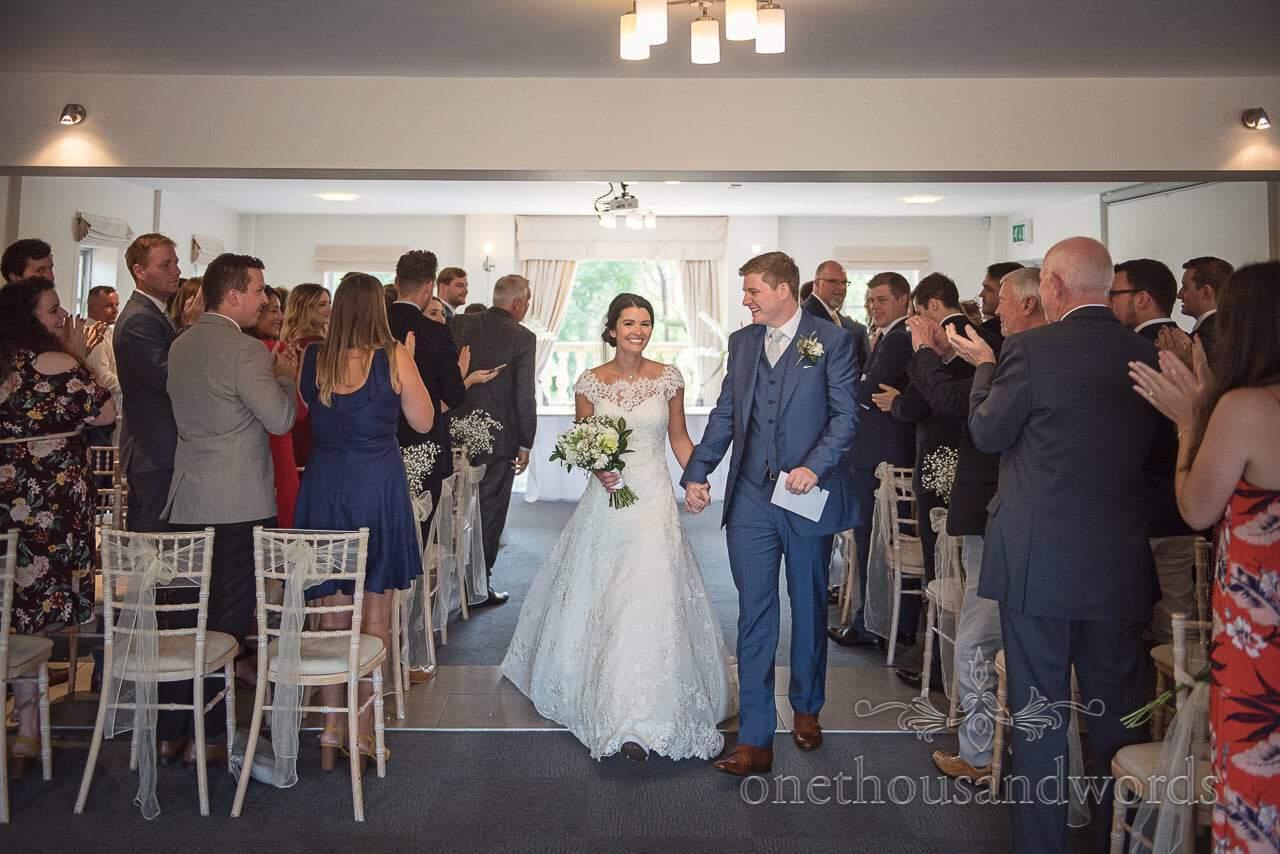 Rapturous applause for newlyweds at the Italian Villa Wedding venue