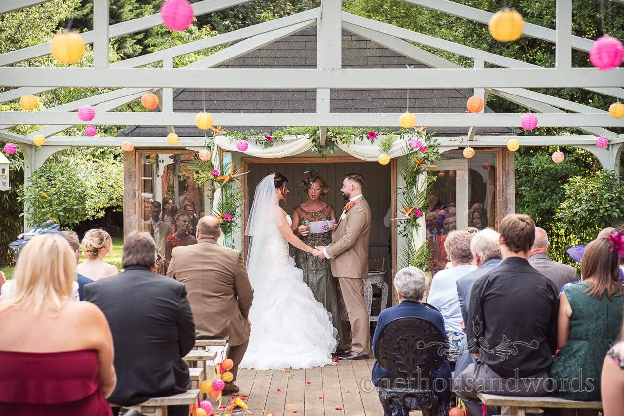 Reading is given during outdoor ceremony at The Old Vicarage Wedding Photographs