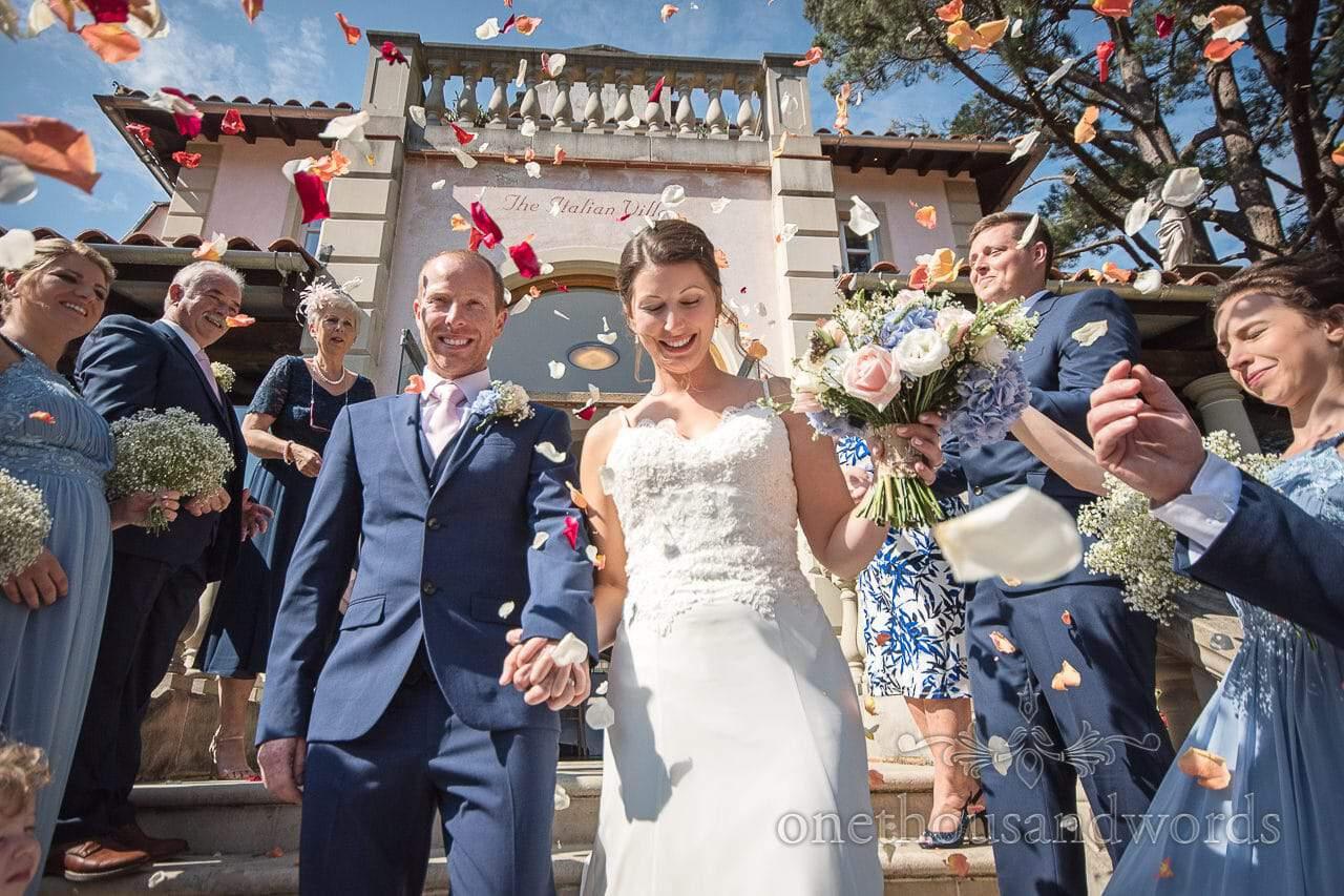 Real flower confetti at the Italian Villa Wedding venue photos
