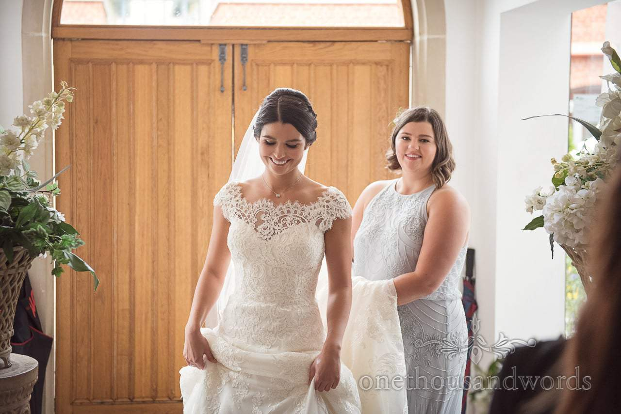 Smiling bride arrives at Italian Villa Wedding venue